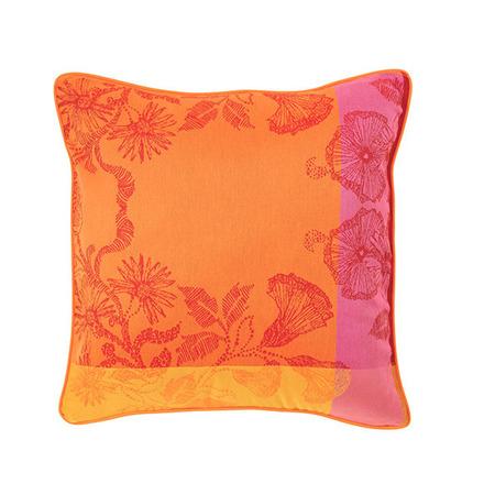 "Cushion Cover Mille Fiori Feuillage 16""x16"", Cotton - 2ea picture"