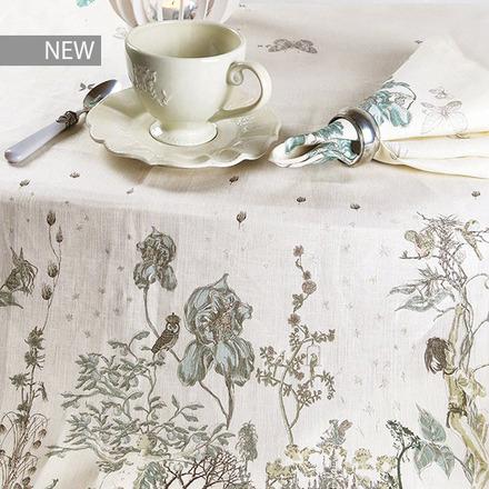 """Jardin Des Fees Aurore Tablecloth 61""""x102"""", 100% Linen picture"""