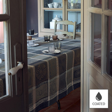"""Mille Wax Cendre Tablecloth 69""""x98"""", Coated Cotton picture"""