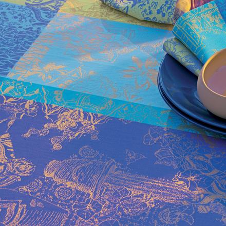 "Mille Patios Majorelle Tablecloth 71"" Round, Cotton picture"