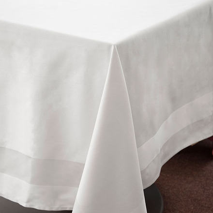 Satin Band White Cotton Tablecloth Square 54x54 picture