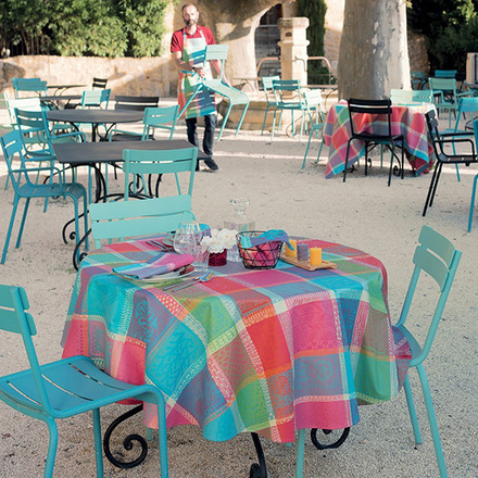 """Mille Wax Cocktail Tablecloth Round 71"""", 100% Cotton picture"""