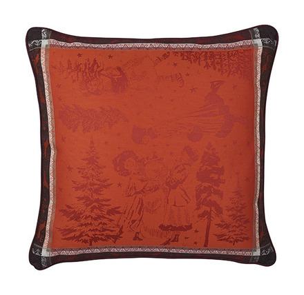"""Chant De Noel Bordeaux Cushion Cover 20""""x20"""", Cotton-2ea picture"""