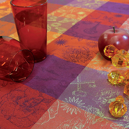 """Mille Alcees Feu Tablecloth 71""""x98"""", 100% Cotton picture"""