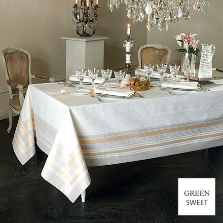 "Galerie Des Glaces Vermeil Tablecloth 68""x99"" GS Stain-Resistant Cotton, Silver/Gold threads picture"