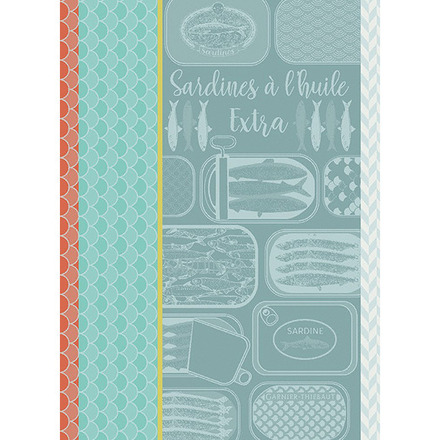 "Sardines A L Huile Turquoise Kitchen Towel 22""x30"", 100% Cotton picture"