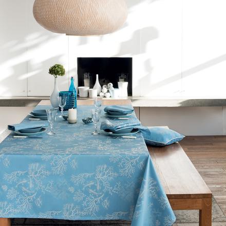 """Mille Coraux Ocean Tablecloth 71""""x98"""", 100% Cotton picture"""