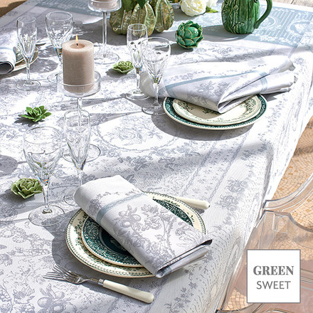 "Lysandra Brume Tablecloth 69""x100"", Green Sweet picture"