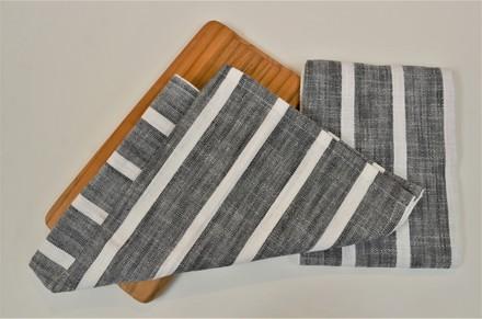 Dobby stripe Kitchen Towel Black, 100% Cotton picture