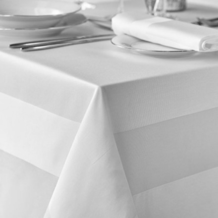 Satin Band White Cotton 2hems Tablecloth Square 64x64 picture