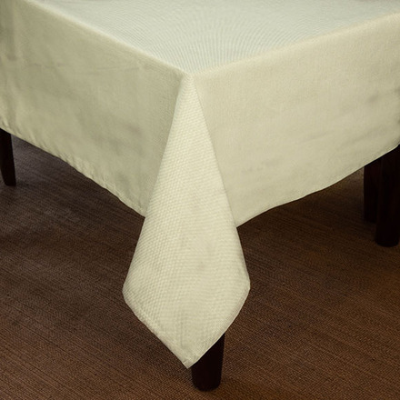 """Natte Ivory Tablecloth Round 126"""" Rnd picture"""