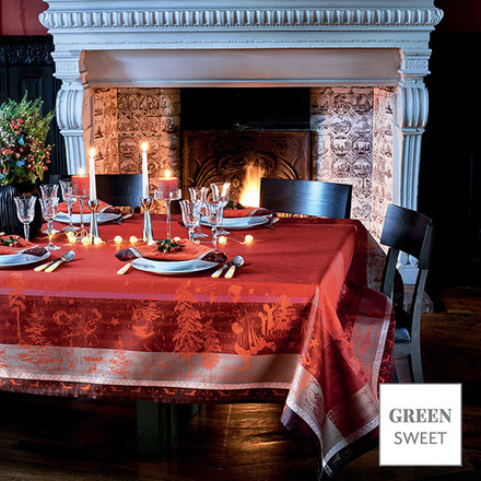 """Chant De Noel Bordeaux Tablecloth 69""""x144"""", Stain Resistant picture"""