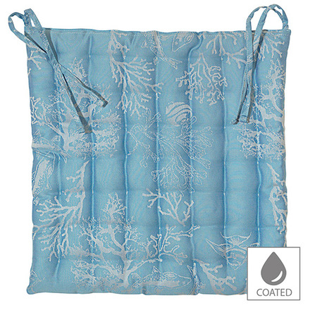"""Mille Coraux Ocean Chair Cushion 15""""x15"""", Coated Cotton picture"""
