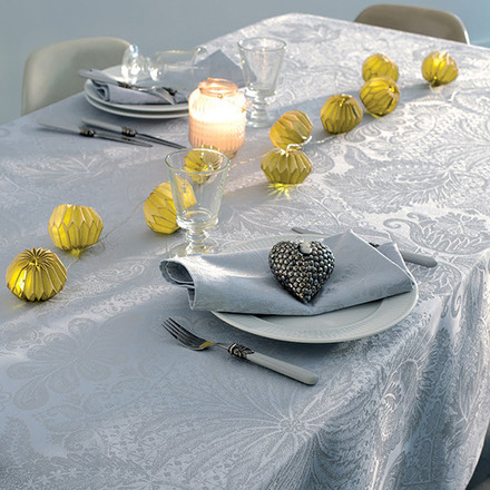 """Mille Isaphire Angelite Tablecloth 71""""x118"""", 100% Cotton picture"""