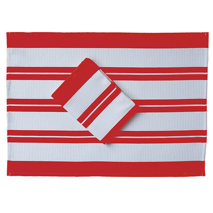 Red and White Crimson Waffle Stripe Kitchen Towel picture