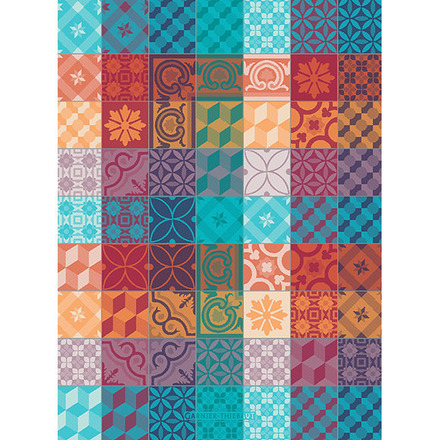 "Mille Tiles Tor Multicolore Kitchen Towel 22""x30"", 100% Cotton picture"