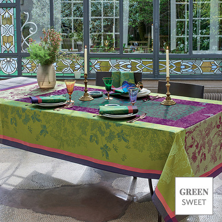 "Plaisirs D Automne Muscat Tablecloth 69""x144"", Green Sweet picture"