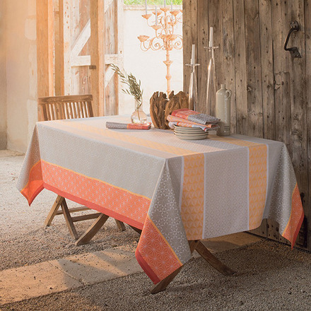 "Mille Geometry Mango Tablecloth 61""x118"", Cotton picture"