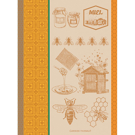 Miel Et Abeilles Ocre Kitchen Towel, Cotton picture