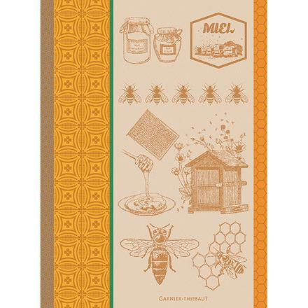"""Miel Et Abeilles Ocre Kitchen Towel 22""""x30"""", 100% Cotton picture"""