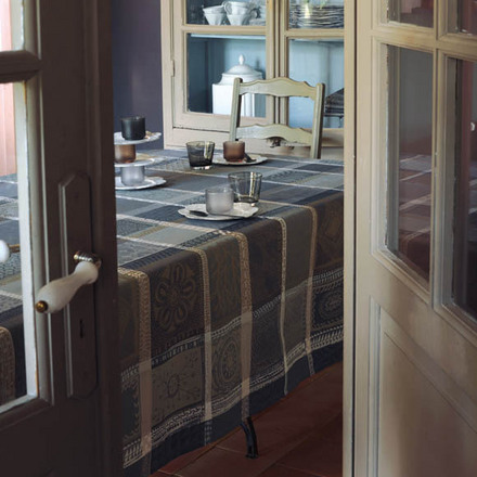 "Mille Wax Cendre Tablecloth 71""x98"", 100% Cotton picture"