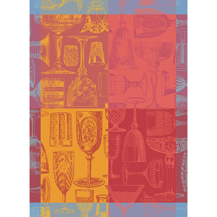 "Verres Et Couleurs Red Kitchen Towel 22""x30"", 100% Cotton picture"