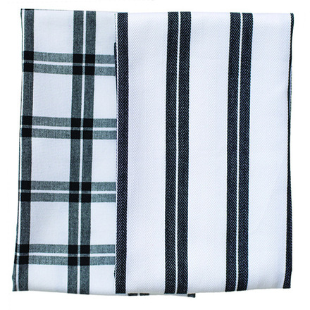 Black Checker Stripe Kitchen Towels -SET of 2ea picture