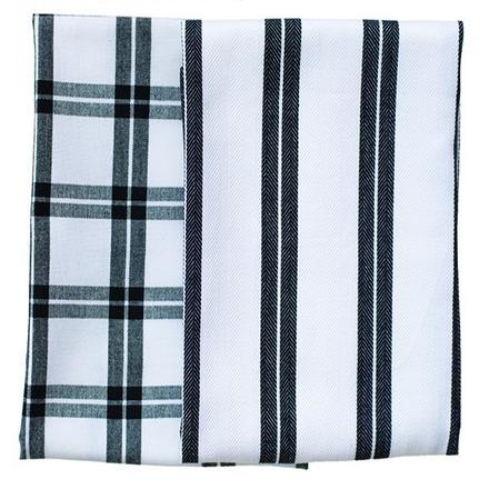 Black Checker Stripe Kitchen Towels -SET of 2ea picture