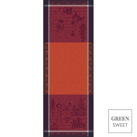 "Chant De Noel Bordeaux Tablerunner 22""x59"", Green Sweet picture"