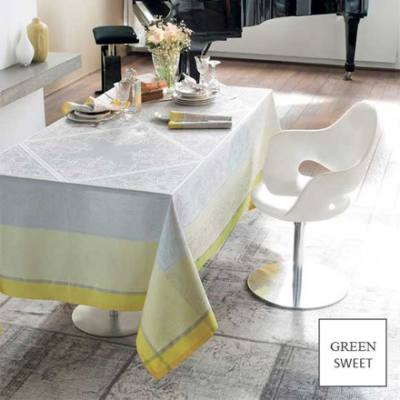 """Alexandrine Mimosa Tablecloth 69""""X69"""", GS Stain Resistant picture"""