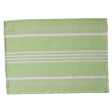 Green and White Pistachio Large Herringbone Stripe Kitchen Towel picture
