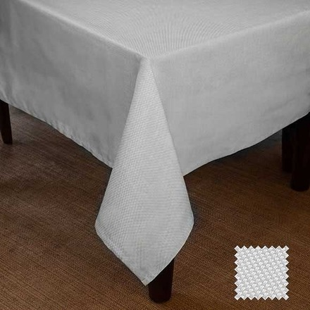 "Natte White Tablecloth 72""x100"", Cotton picture"