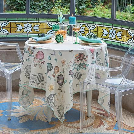 """Montgolfieres Vintage Tablecloth 61""""x61"""", 100% Linen picture"""