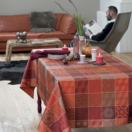 "Mille Tiles Terracotta Tablecloth Rectangle 71""x118"", Cotton picture"