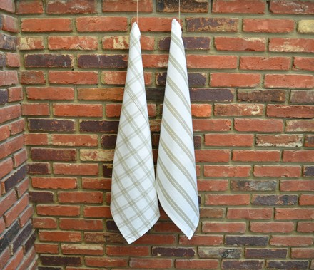 Checker Stripes Kitchen Towel Natural, 100% Cotton picture