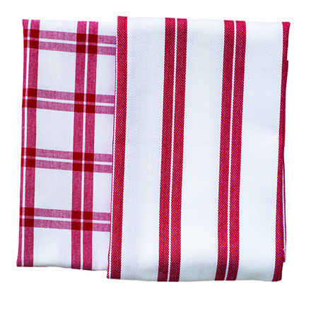 Red Checker Stripe Kitchen Towels -SET of 2ea picture