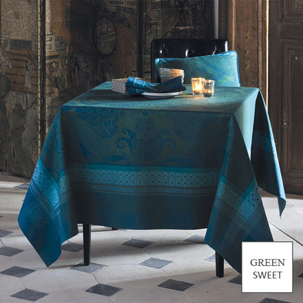 """Tablecloth Isaphire Emeraude 68""""x68"""" picture"""