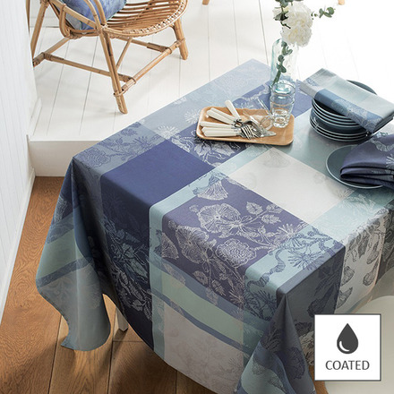 "Mille Fiori Givre Tablecloth 69""x69"", Coated Cotton picture"