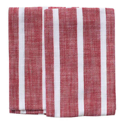 Dobby Stripes Red Kitchen Towels - SET of 2ea picture