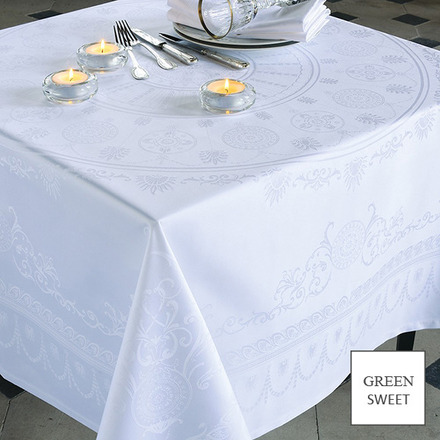 "Tablecloth Eloise Blanc 69""x120"" picture"