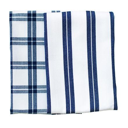 Blue Checker Stripe Kitchen Towels -SET of 2ea picture