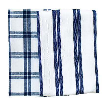 Blue Checker Stripes 2pcs Kitchen Towel Set picture