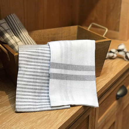 White and Grey Checker Stripes Kitchen Towels  Set of 5 picture
