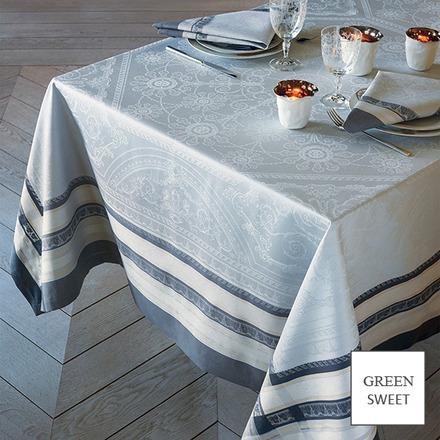 """Tablecloth Square Galerie Des Glaces Argent 68""""x68"""", GS Stain Resistant - 1ea picture"""