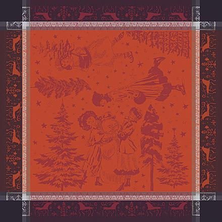 """Chant De Noel Bordeaux Napkin 22""""x22"""", 100% Cotton picture"""