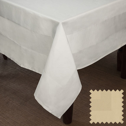 Satin Band Canaveral Sand Cotton Tablecloth Square 63x63 picture