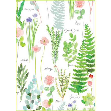"Mille Herbier Printemps Kitchen Towel 20""x28"", 100% Cotton picture"