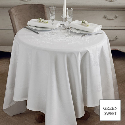 "Comtesse Blanc Blanc Tablecloth 69""x143"", Green Sweet picture"