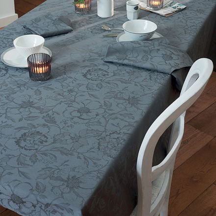 """Tablecloth Rectangle Mille Charmes Grey 71""""x118"""", Cotton - 1ea picture"""