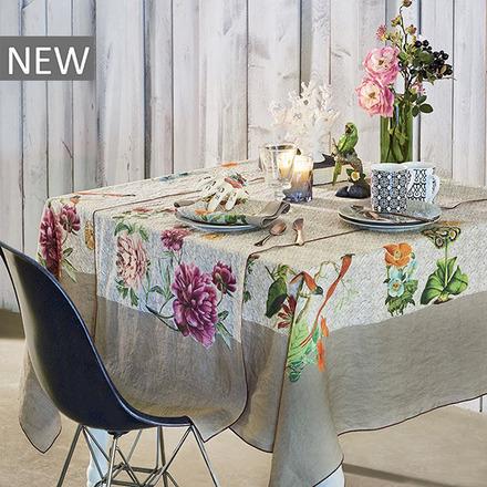 """Mille Gaia Floralies Tablecloth 61""""x89"""", 100% Linen picture"""